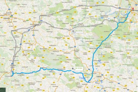 Route nach Berlin